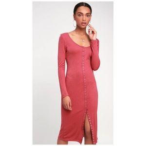 Lulu's In A Snap Rusty Rose Midi Dress